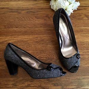 Naturalizer peep toe tweed patent pumps heels 10